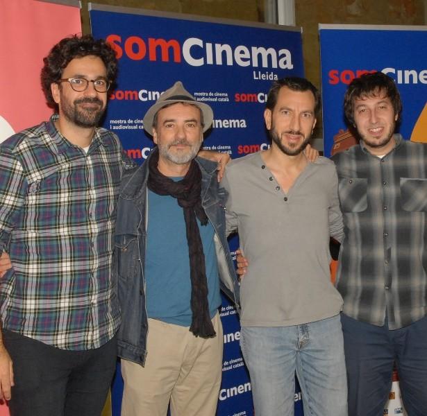 L'equip De EL CAMÍ MÉS LLARG PER TORNAR A CASA: Sergi Pérez, Director; Aritz Cirbian I Martín Samper, Productors Amb El Director Del Som Cinema, Manel Montañés.