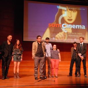 Jordi Celma, Director; David Besora, Productor I Els Actors Gemma Castell I Albert García. L Durant La Presentación De NOA A L'Auditori Enric Granados De Lleida.